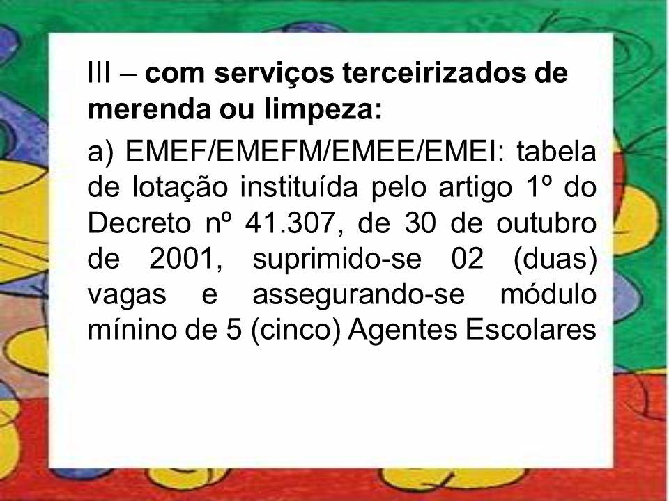 III – com serviços terceirizados de merenda ou limpeza: