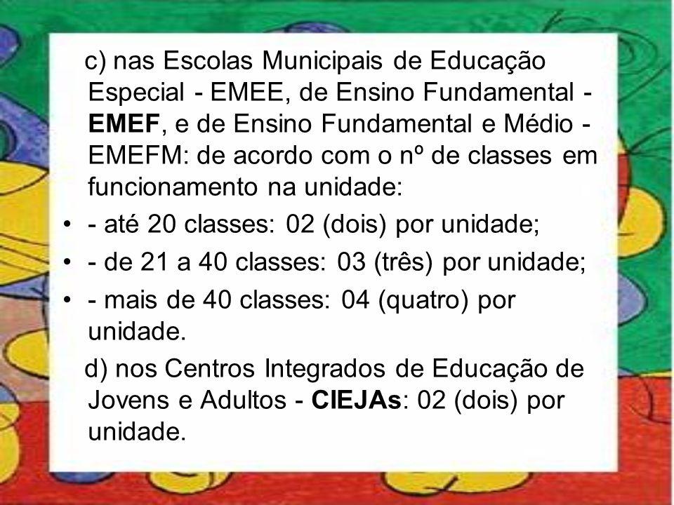 c) nas Escolas Municipais de Educação Especial - EMEE, de Ensino Fundamental - EMEF, e de Ensino Fundamental e Médio - EMEFM: de acordo com o nº de classes em funcionamento na unidade: