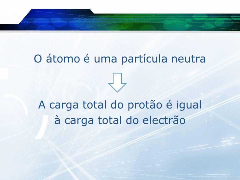 O átomo é uma partícula neutra