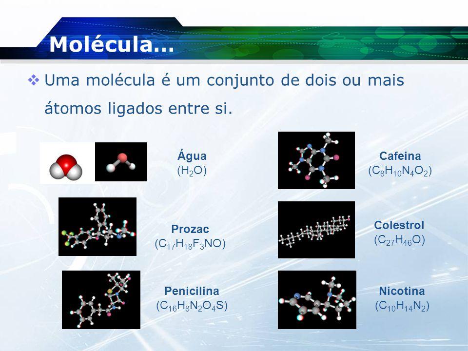 Molécula… Uma molécula é um conjunto de dois ou mais átomos ligados entre si. Água. (H2O) Cafeina (C8H10N4O2)