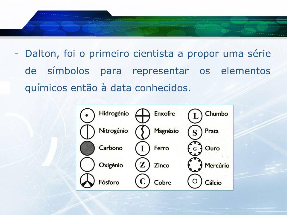 Dalton, foi o primeiro cientista a propor uma série de símbolos para representar os elementos químicos então à data conhecidos.