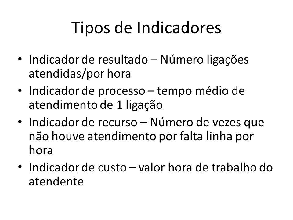 Tipos de Indicadores Indicador de resultado – Número ligações atendidas/por hora. Indicador de processo – tempo médio de atendimento de 1 ligação.