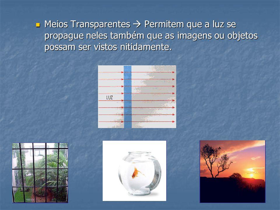 Meios Transparentes  Permitem que a luz se propague neles também que as imagens ou objetos possam ser vistos nitidamente.