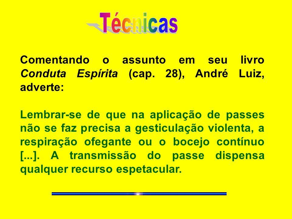 Técnicas Comentando o assunto em seu livro Conduta Espírita (cap. 28), André Luiz, adverte: