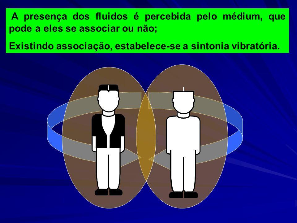 A presença dos fluidos é percebida pelo médium, que pode a eles se associar ou não;