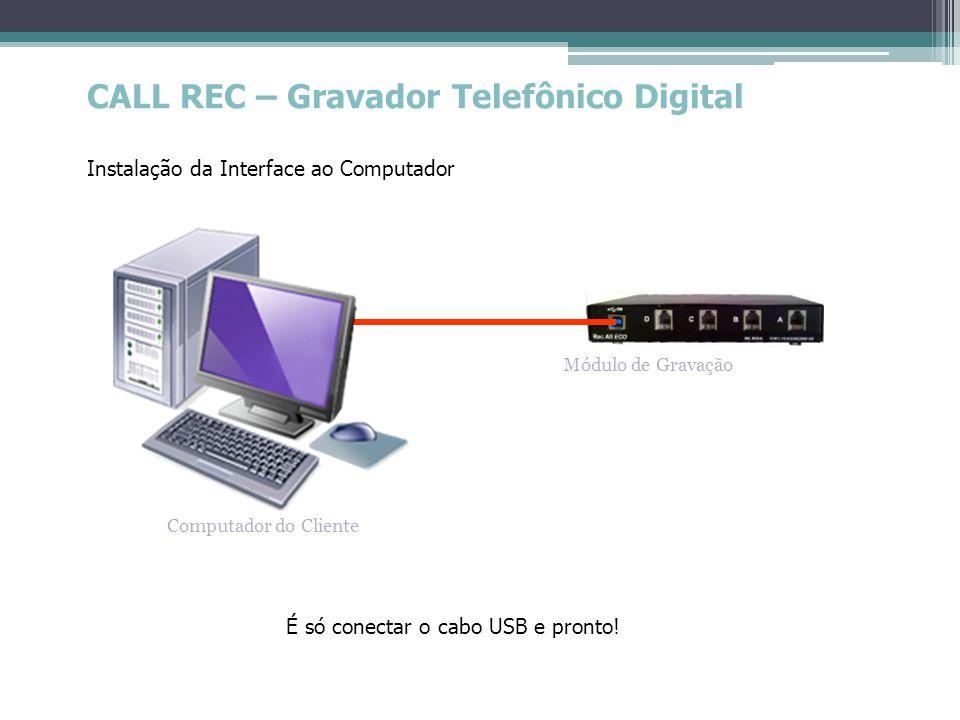 CALL REC – Gravador Telefônico Digital Instalação da Interface ao Computador