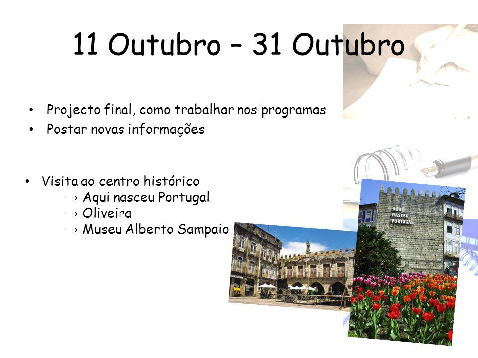 11 Outubro – 31 Outubro Projecto final, como trabalhar nos programas