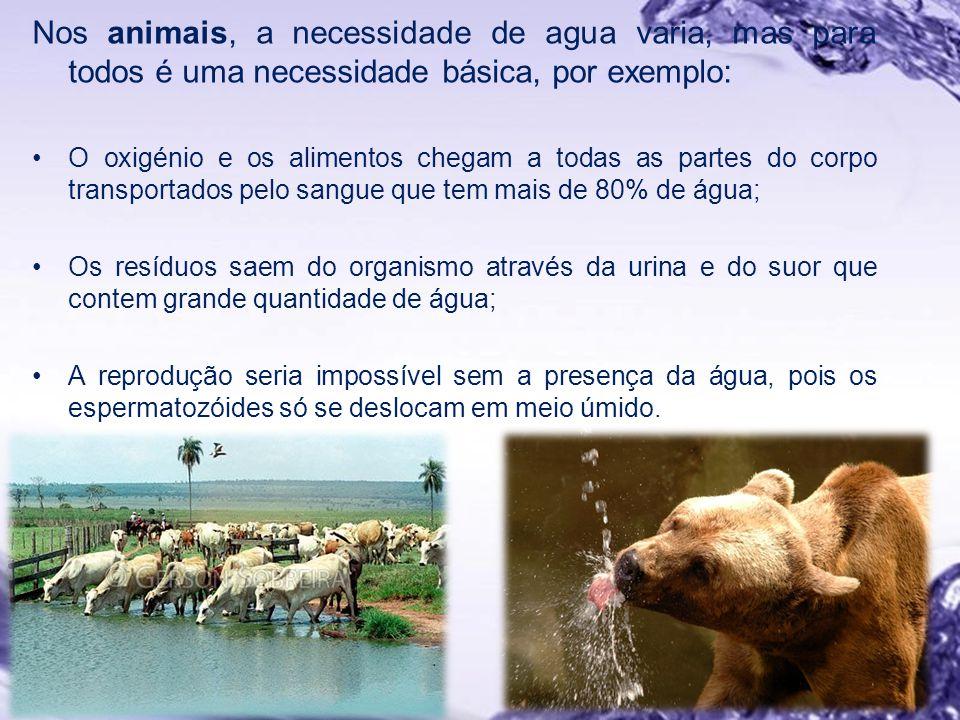 Nos animais, a necessidade de agua varia, mas para todos é uma necessidade básica, por exemplo: