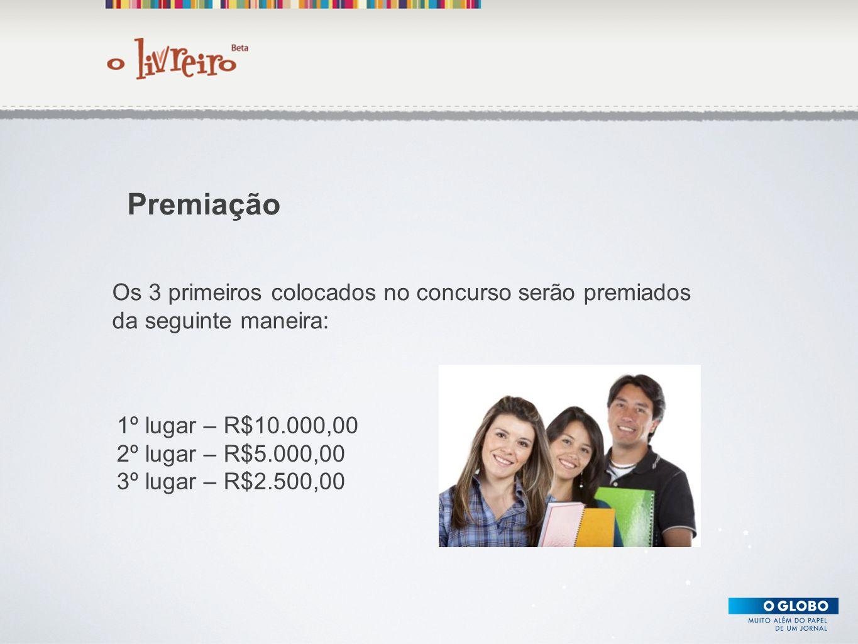 Premiação Os 3 primeiros colocados no concurso serão premiados da seguinte maneira: 1º lugar – R$10.000,00.