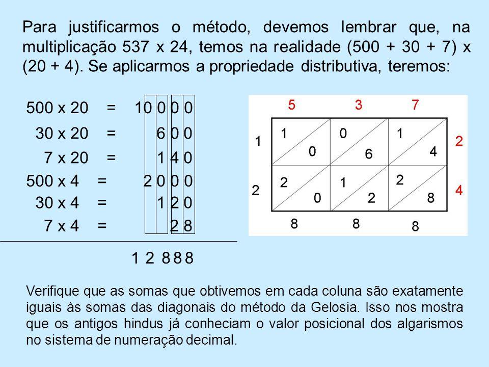 Para justificarmos o método, devemos lembrar que, na multiplicação 537 x 24, temos na realidade (500 + 30 + 7) x (20 + 4). Se aplicarmos a propriedade distributiva, teremos:
