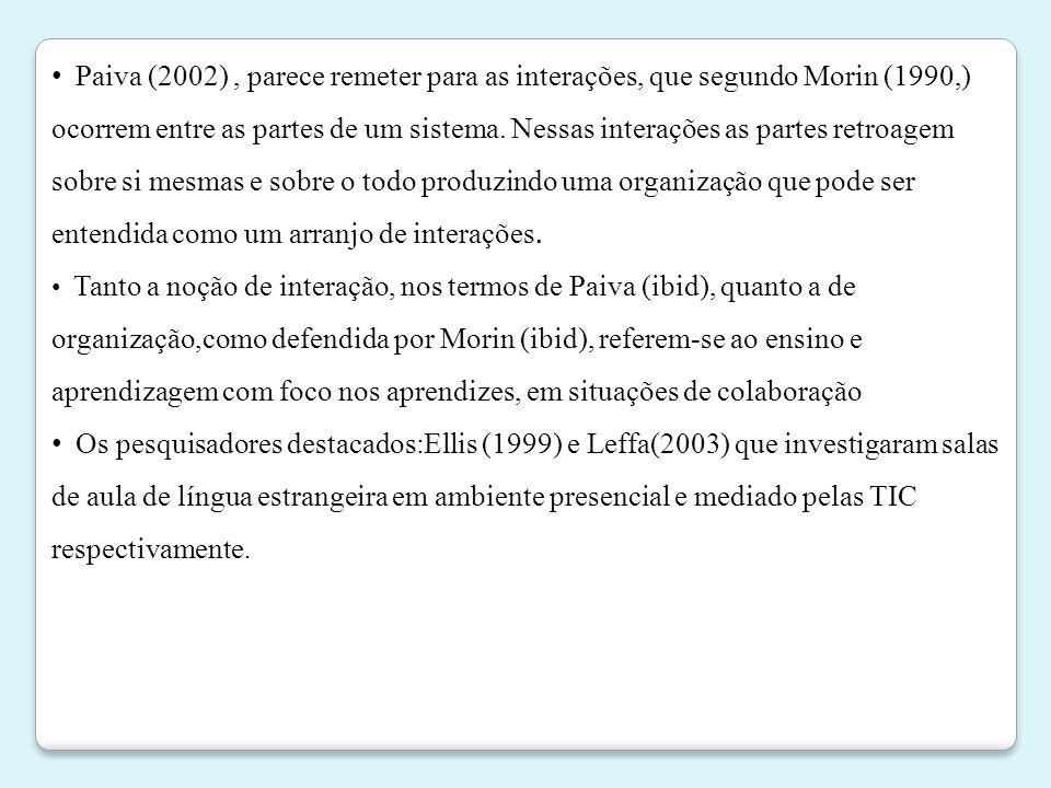 Paiva (2002) , parece remeter para as interações, que segundo Morin (1990,) ocorrem entre as partes de um sistema. Nessas interações as partes retroagem sobre si mesmas e sobre o todo produzindo uma organização que pode ser entendida como um arranjo de interações.