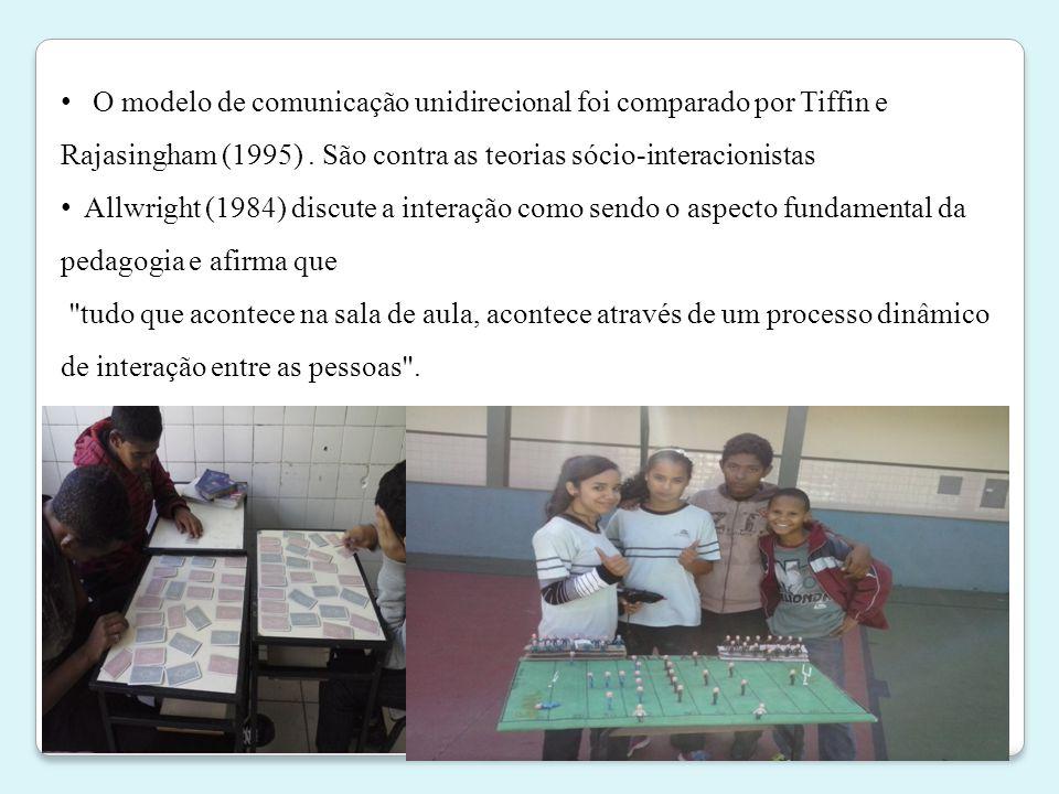 O modelo de comunicação unidirecional foi comparado por Tiffin e Rajasingham (1995) . São contra as teorias sócio-interacionistas