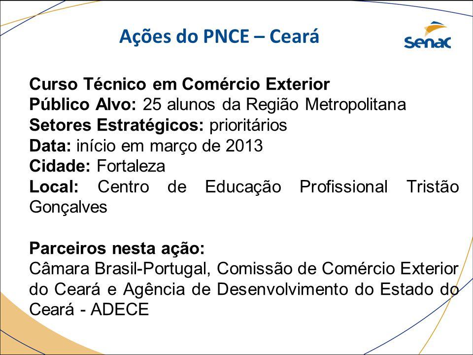 Ações do PNCE – Ceará Curso Técnico em Comércio Exterior