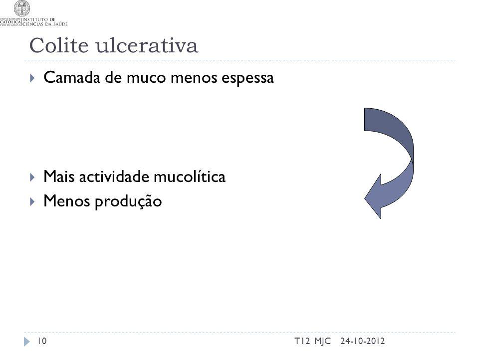 Colite ulcerativa Camada de muco menos espessa