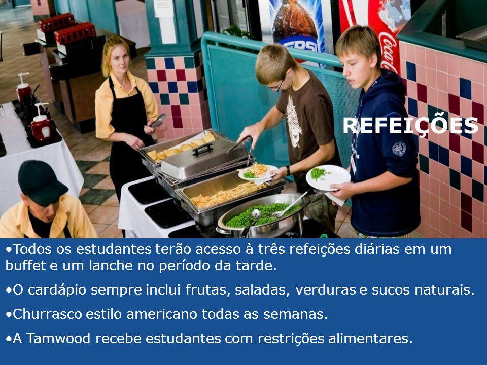 REFEIÇÕES Todos os estudantes terão acesso à três refeições diárias em um buffet e um lanche no período da tarde.