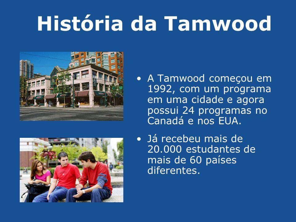 História da Tamwood A Tamwood começou em 1992, com um programa em uma cidade e agora possui 24 programas no Canadá e nos EUA.