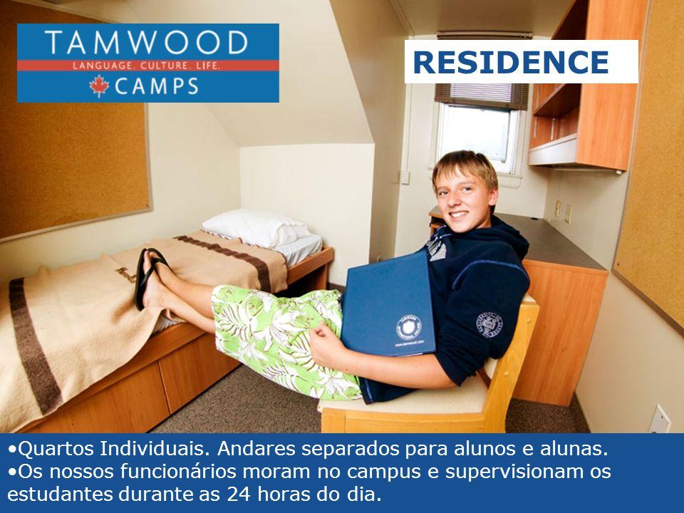 RESIDENCE Quartos Individuais. Andares separados para alunos e alunas.