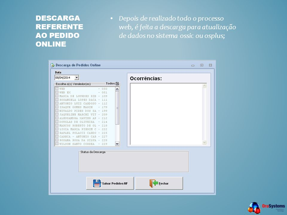 Descarga referente ao pedido online