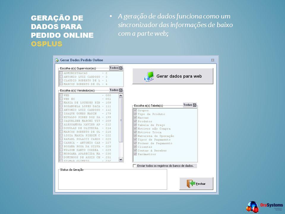 Geração de dados para pedido online osplus