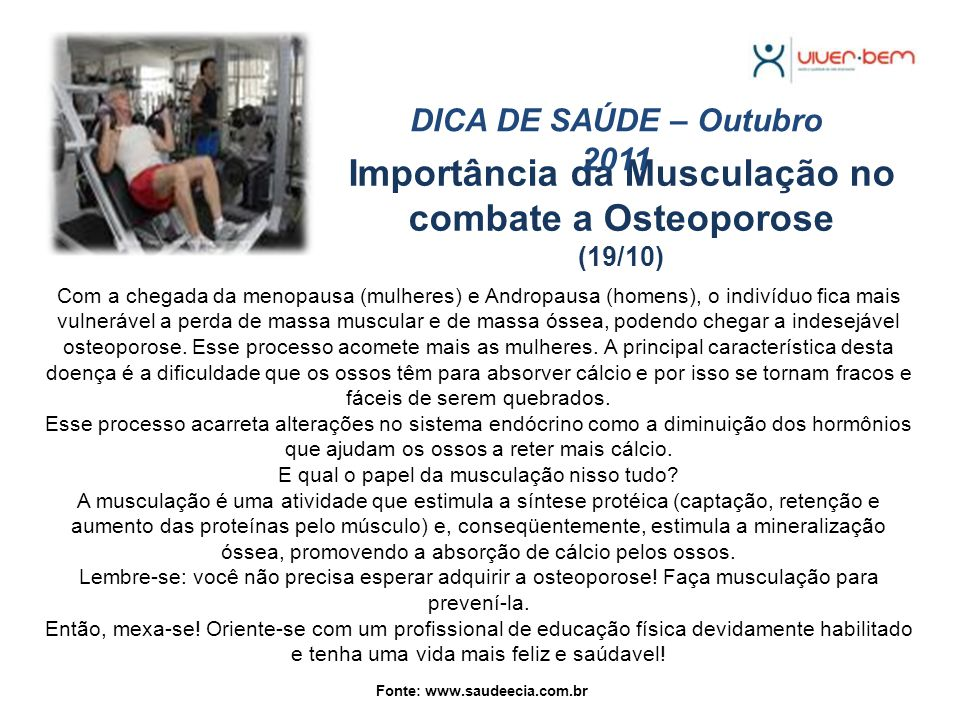 Importância da Musculação no combate a Osteoporose (19/10)