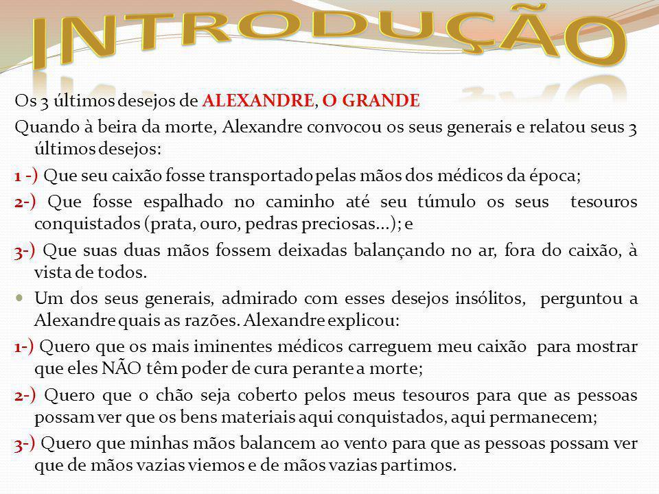 INTRODUÇÃO Os 3 últimos desejos de ALEXANDRE, O GRANDE