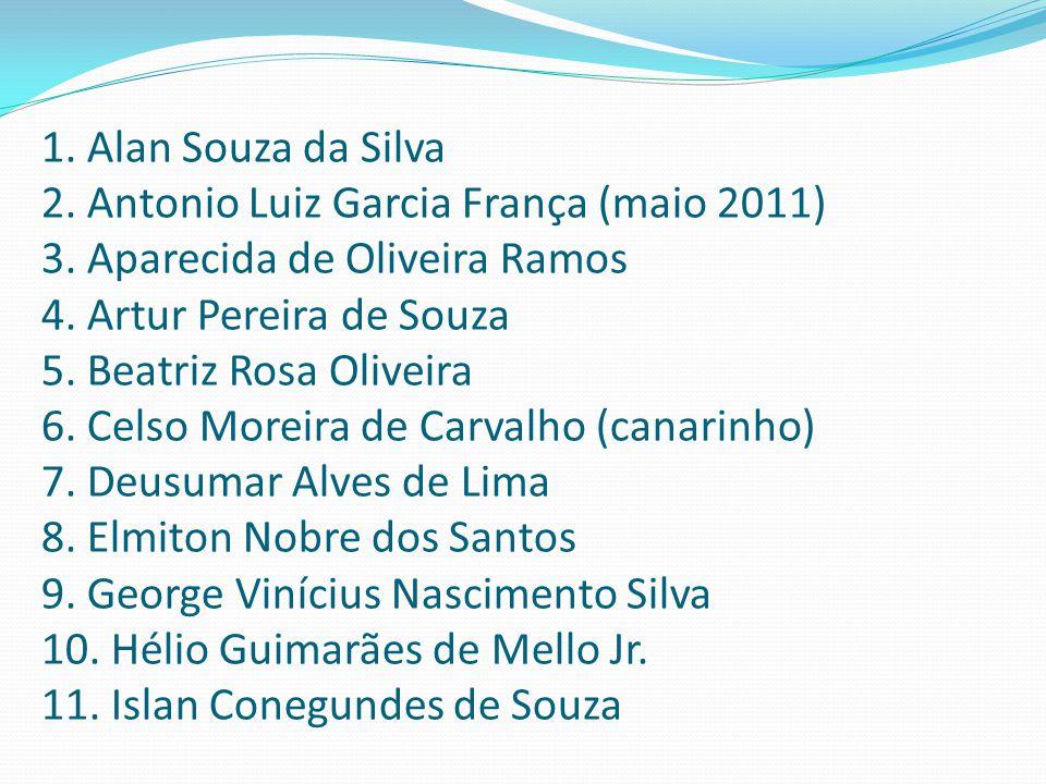 1. Alan Souza da Silva 2. Antonio Luiz Garcia França (maio 2011) 3