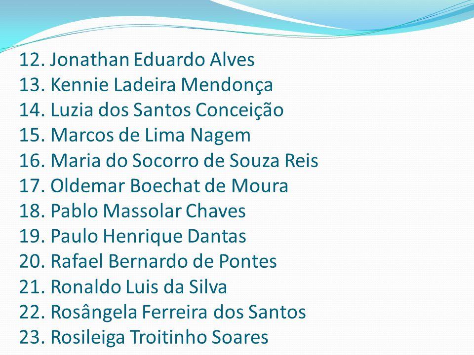12. Jonathan Eduardo Alves 13. Kennie Ladeira Mendonça 14