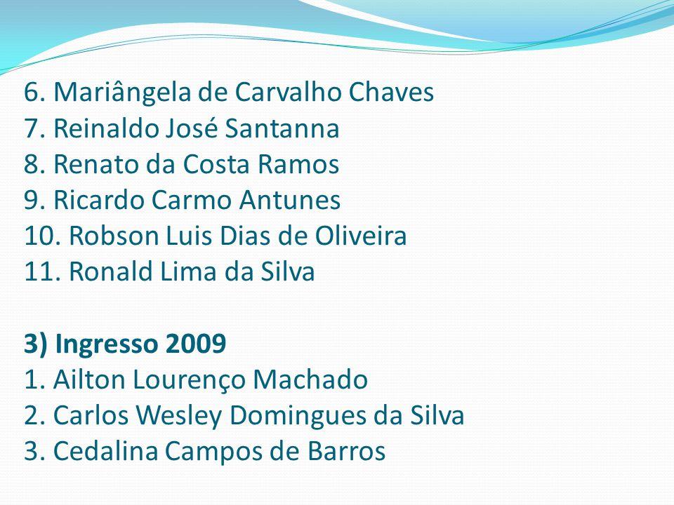 6. Mariângela de Carvalho Chaves 7. Reinaldo José Santanna