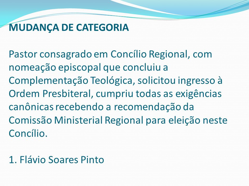 MUDANÇA DE CATEGORIA