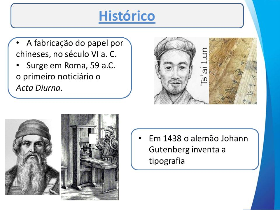 Histórico A fabricação do papel por chineses, no século VI a. C.