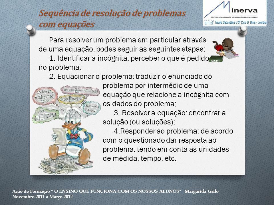 Sequência de resolução de problemas com equações