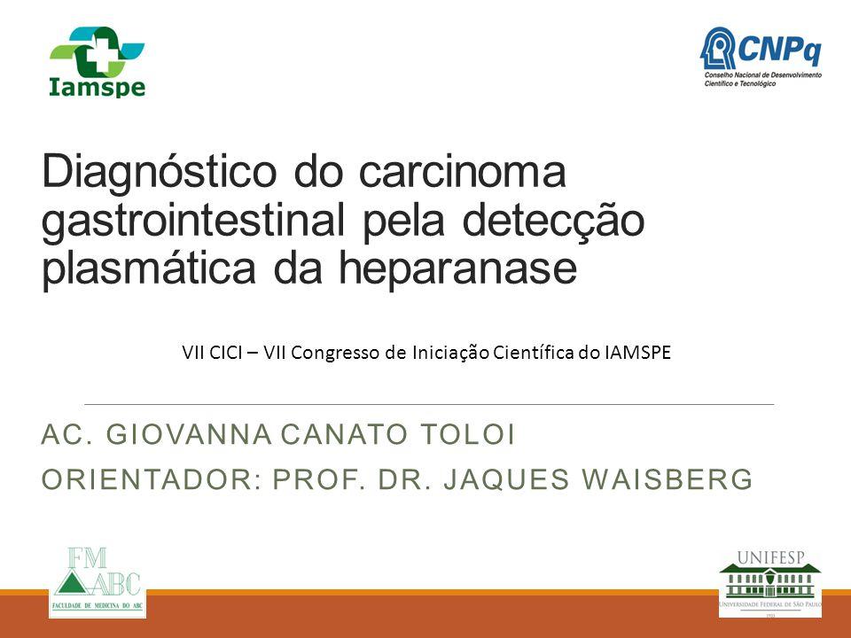 Ac. Giovanna Canato Toloi Orientador: Prof. Dr. Jaques Waisberg