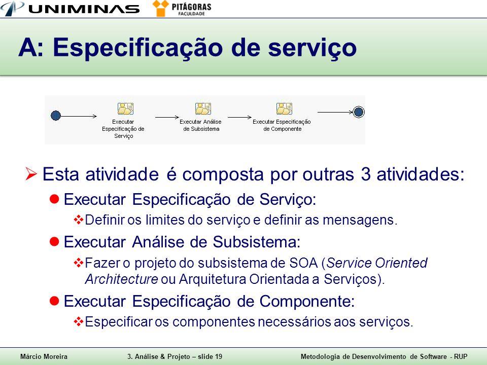 A: Especificação de serviço