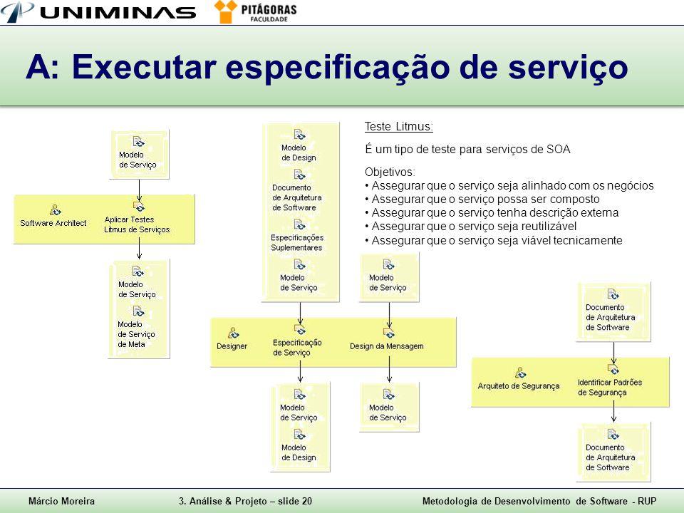 A: Executar especificação de serviço