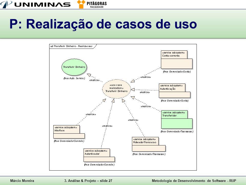 P: Realização de casos de uso