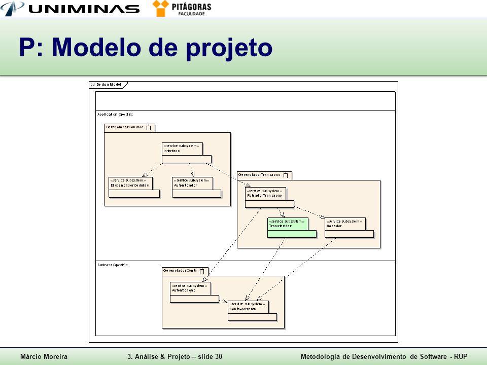 P: Modelo de projeto