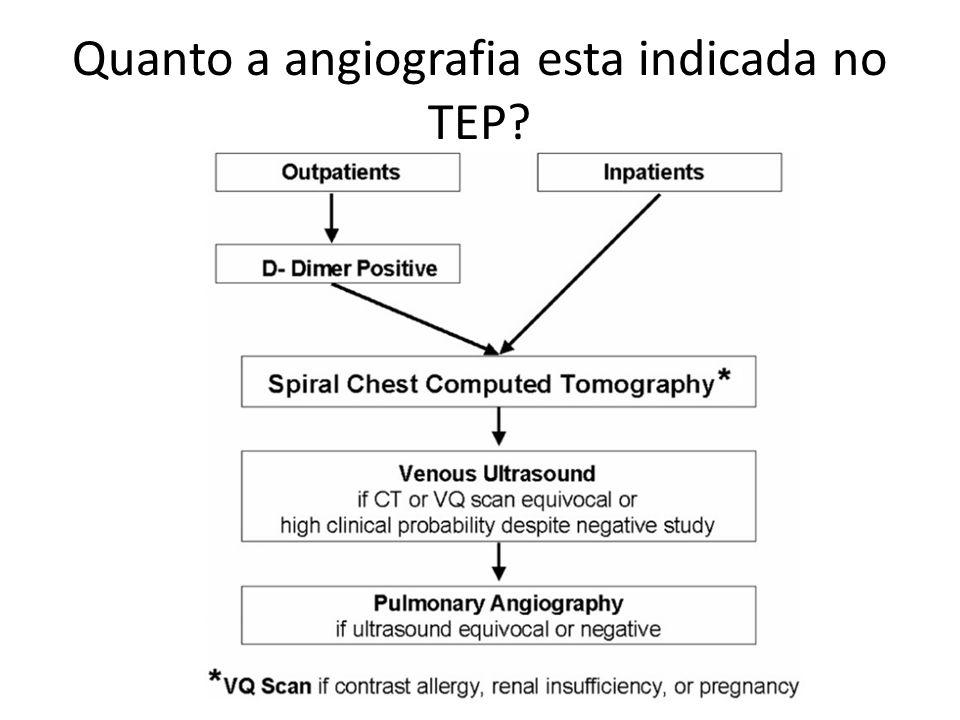 Quanto a angiografia esta indicada no TEP