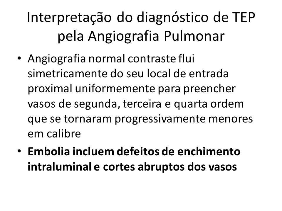 Interpretação do diagnóstico de TEP pela Angiografia Pulmonar