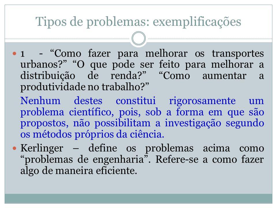 Tipos de problemas: exemplificações