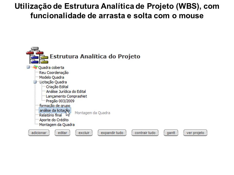 Utilização de Estrutura Analítica de Projeto (WBS), com funcionalidade de arrasta e solta com o mouse