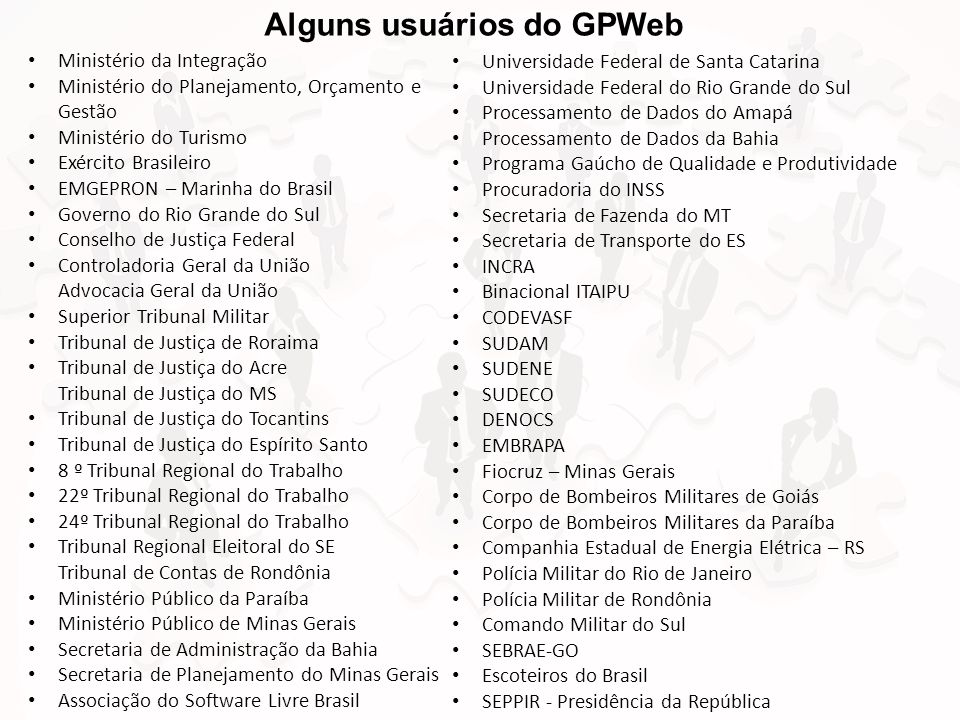 Alguns usuários do GPWeb