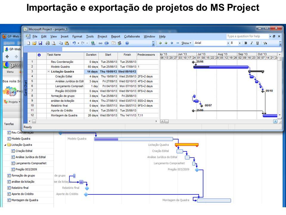 Importação e exportação de projetos do MS Project