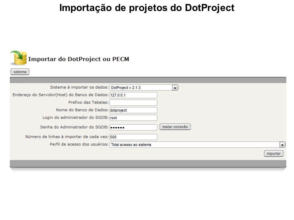 Importação de projetos do DotProject