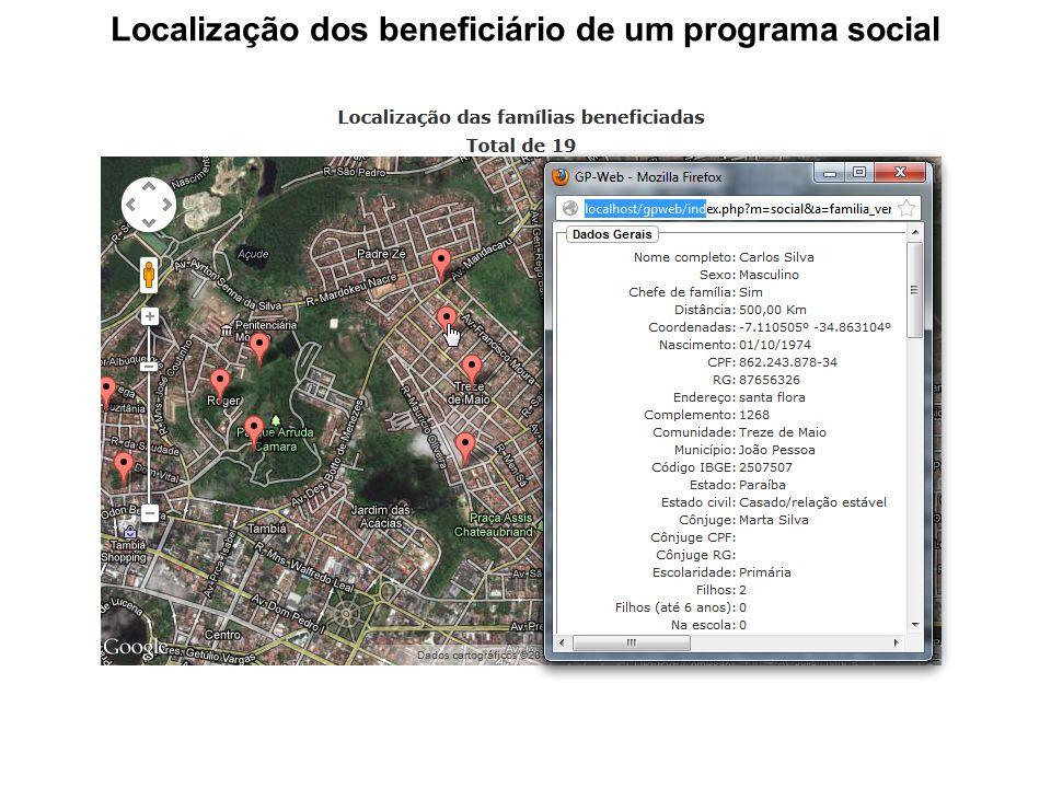 Localização dos beneficiário de um programa social