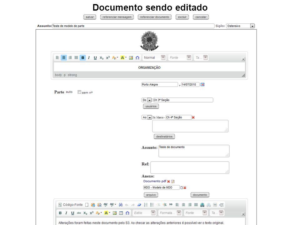 Documento sendo editado