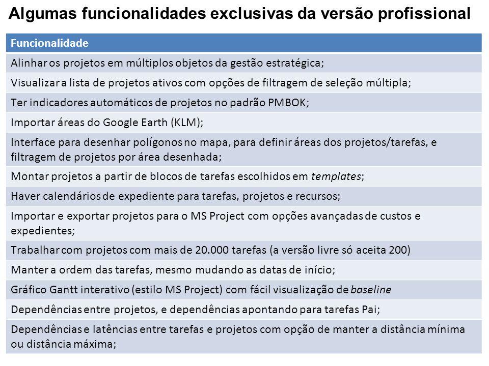 Algumas funcionalidades exclusivas da versão profissional