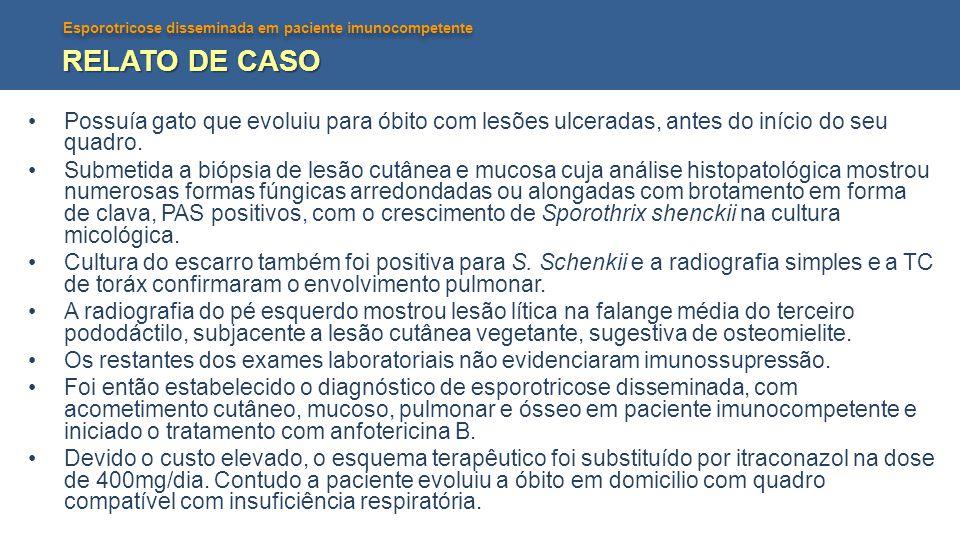 RELATO DE CASO Possuía gato que evoluiu para óbito com lesões ulceradas, antes do início do seu quadro.