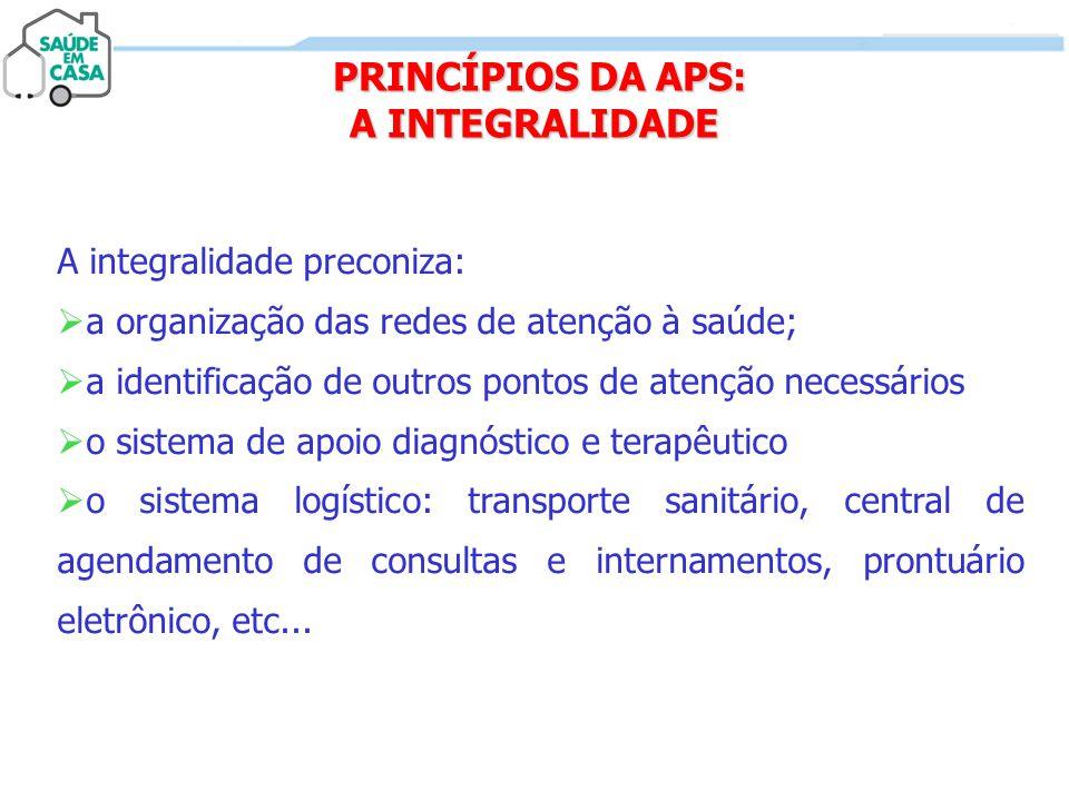 PRINCÍPIOS DA APS: A INTEGRALIDADE