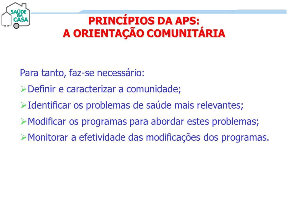 PRINCÍPIOS DA APS: A ORIENTAÇÃO COMUNITÁRIA
