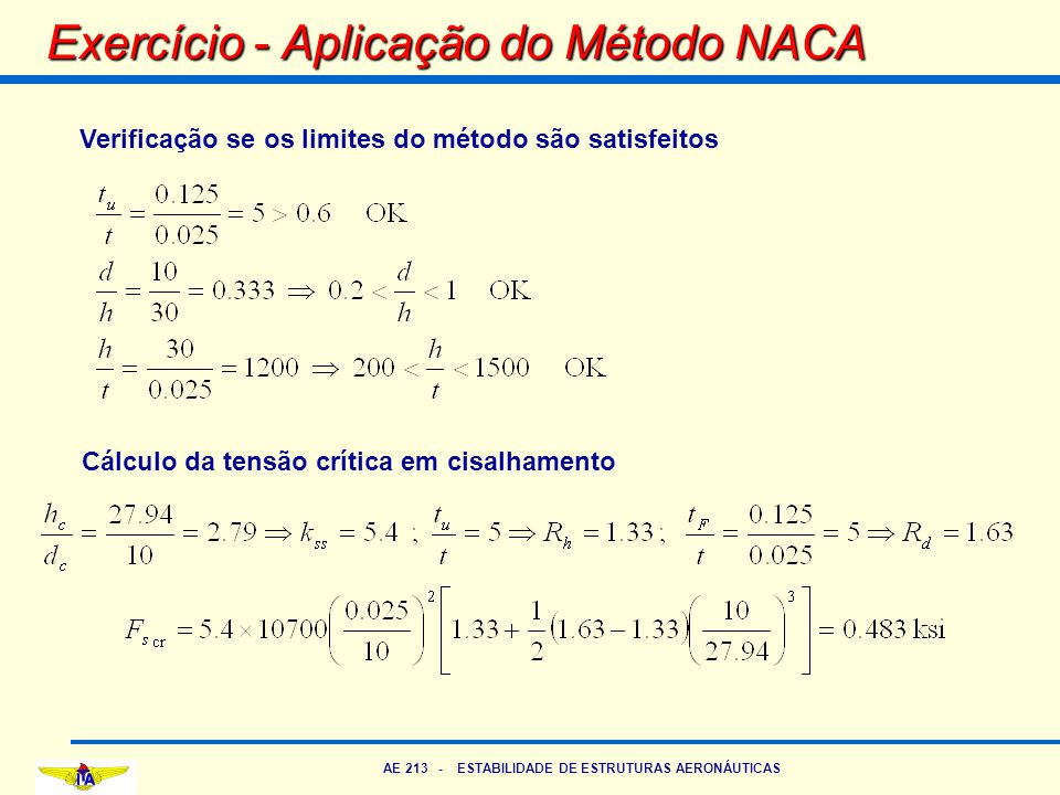 Exercício - Aplicação do Método NACA